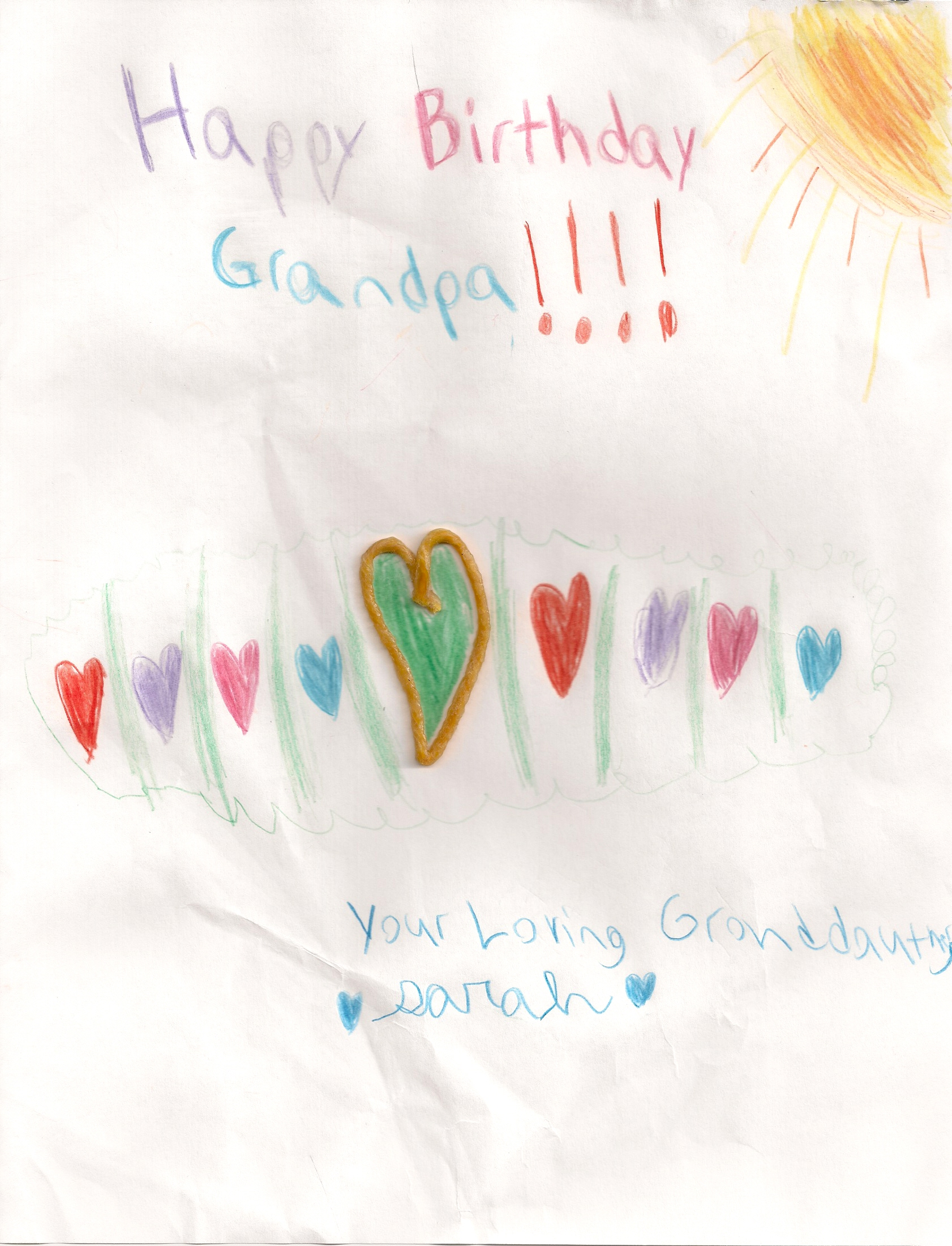 Sarah's Birthday Card to Granpa, 2010