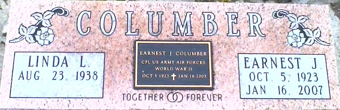 Ernest J. Columber in Weston, Ohio Cemetery - stone