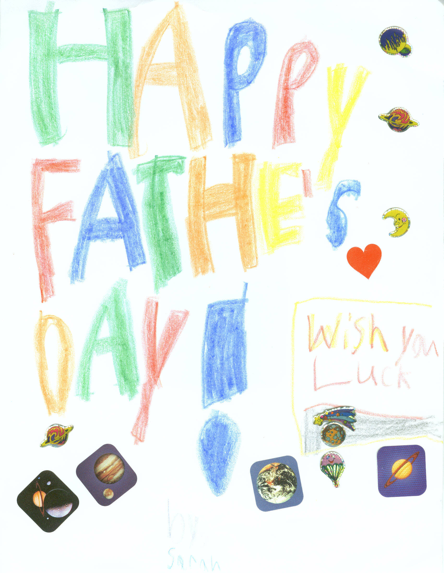 Sarah's Fathers Day Card to Grandpa, 2010