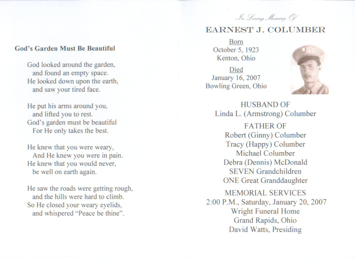 In Loving Memory of Ernest J. Columber